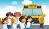Illustration of the young students waiting for the schoolbus