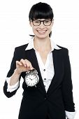 Smiling Young Lady Holding Old Fashioned Time Piece