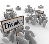 Many groups of teams or workers are divided into categories around signs market Division to illustra