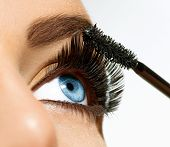 stock photo of eyebrows  - Mascara Applying - JPG