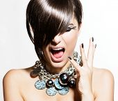 Fashion Model Girl Portrait. Excited Woman. Emotions. Trendy Hair Style and Manicure. Fringe. Haircu