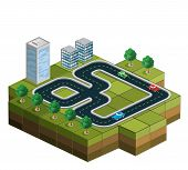 foto of track home  - Track racing with cars and trees in the background of urban homes - JPG
