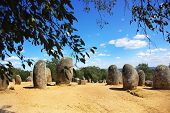 Panoramic  Of Almendres Cromlech.