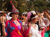 Two Unidentified Women In Carnival Costumes At The Annual Festival Arambol beach, Goa, India, 2013
