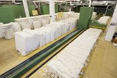 View of cotton materials at spinning factory