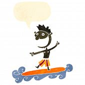 retro cartoon surfer with speech bubble