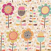 Bright stylish cartoon floral card in vector. Seamless pattern can be used for wallpapers, pattern f