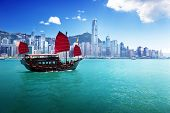 stock photo of sails  - Hong Kong harbour - JPG