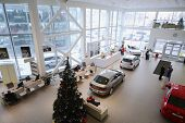 MOSCOW - JAN 11: Top view of the foyer with a reception and cars of Volkswagen Varshavka Center Janu
