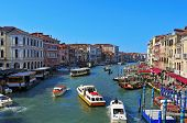 VENICE, ITALY - APRIL 13: A view of the Grand Canal from Rialto Bridge on April 13, 2013 in Venice,