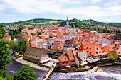 picture of bohemia  - Aerial view over the old Town of Cesky Krumlov - JPG