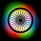 vector indian flag wheel on colorful backgorund