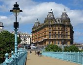 View of Scarborough showing historic Grand hotel. Photo taken from Spa bridge.