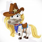 Cute Saddled White Horse In A Cowboy Hat