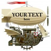 Vector isolated image of the complex fantastic flying ship with machinery, dirigible, sail, wings, w