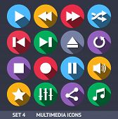 Multimedia Vector Icons With Long Shadow