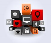 3d apps icon abstract background