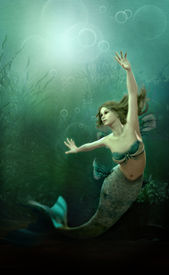 picture of fairy tail  - 3D computer graphics of a mermaid under water - JPG