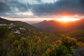 foto of fynbos  - View from mountains over mountains with fynbos and sunset