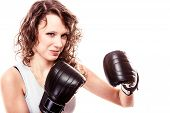 Sport Boxer Woman In Black Gloves. Fitness Girl Training Kick Boxing
