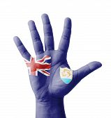 Open Hand Raised, Multi Purpose Concept, Anguilla Flag Painted - Isolated On White Background