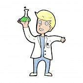 cartoon happy scientist
