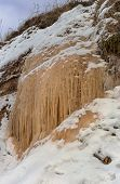picture of groundwater  - colored icicles at the exit site groundwater