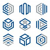 Hexagon shaped design elements 2. Abstract hexagonal vector symbols, blue and grey.