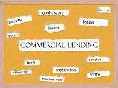 picture of lien  - Commercial Lending Corkboard Word Concept with great terms such as lender lien bank and more - JPG