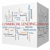 stock photo of lien  - Commercial Lending 3D cube Word Cloud Concept with great terms such as loan fees business plan and more - JPG