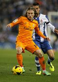 BARCELONA - JAN, 12: Luka Modric of Real Madrid during the Spanish League match between Espanyol and