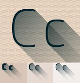 Vector illustration of flat modern long transparent shadow alphabet. Letter c