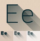 Vector illustration of flat modern long transparent shadow alphabet. Letter e