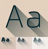 Vector illustration of flat modern long transparent shadow alphabet. Letter a
