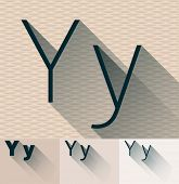 Vector illustration of flat modern long transparent shadow alphabet. Letter y