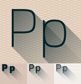 Vector illustration of flat modern long transparent shadow alphabet. Letter p