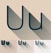 Vector illustration of flat modern long transparent shadow alphabet. Letter u