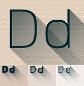 Vector illustration of flat modern long transparent shadow alphabet. Letter d