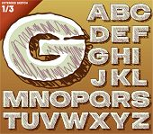 Sketch alphabet. Vector illustration of hand drawing font. Bold extended style. Uppercase letters le