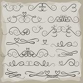 wedding invitation announcement vintage heart doodle header set