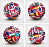 stock photo of bandeiras  - Flags of the world in globe - JPG