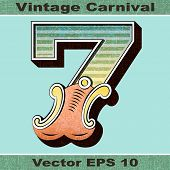 The Number 7, Seven of an Alphabet Sit of Vintage, Carnival, Circus, Funfair, Fishtail Letters and N