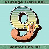 The Number 9, Nine of an Alphabet Sit of Vintage, Carnival, Circus, Funfair, Fishtail Letters and Nu