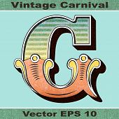 The Letter G of an Alphabet Sit of Vintage, Carnival, Circus, Funfair, Fishtail Letters and Numbers.