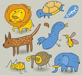 Vector vintage Animal Cartoon Doodle set