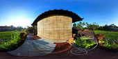 Spherical, 360 degrees panorama (equirectangular projection) of a balcony of traditional house, Bali