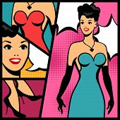 Illustration of retro girl in pop art style.