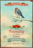 Vintage Easter Poster and Invitation - Easter themed poster, with colorful bird perched on a branch above the red eggs, against the bright blue sky