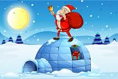 Illustration of Santa standing above an igloo on a white background