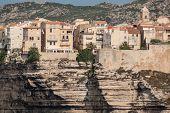 Beautiful Old Village Of Bonifacio (corsica Island, France), Suspended Over Amazing Cliffs